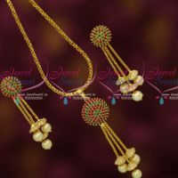 Ruby Emerald Ball Pendant Earrings Gold Plated Chain Latest Fashion Jewelry Online