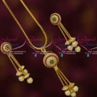 Multi Colour AD Stones Ball Pendant Earrings Gold Plated Chain Latest Stylish Jewelry Online