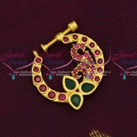 AD Ruby Emerald Stones Screw Nath Nose Pin Gold Plated Party Wear Jewellery Online