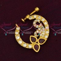 AD Ruby White Stones Screw Nath Nose Pin Gold Plated Party Wear Jewellery Online