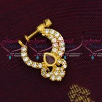 Ruby White Small Size Peacock Nath Screw Lock Non Piercing Nose Pins Low Price