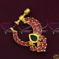 Ruby Emerald Small Size Jewelry Nath Screw Lock Non Piercing Nose Pins Low Price