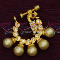 Pearl Drops Latest Fashion Jewelry Nath Nose Pin AD Screw Lock Design Online