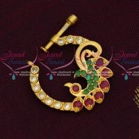 Stylish Gold Plated AD Nath Nose Pin Screw Lock Non Piercing Jewellery Online