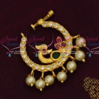 Non Piercing Nose Pins AD Gold Plated Screw Lock Nath Designs Semi Precious Stones