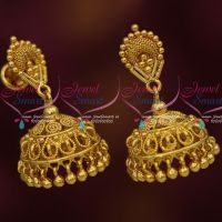 Simple Design South Indian Handmade Jhumka Earrings Gold Plated Daily Wear Jewellery
