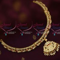 Gold Plated Jewelry South Indian Thick Metal White AD Stones Attigai Traditional Online