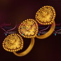 Double Finger Rings 3 Design Temple Matte Gold Temple Antique Online