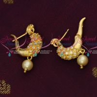 Low Price Peacock AD White Stones Bali Earrings Light Gold Plated Jewellery