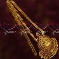 Ruby Stones Gold Covering Ghajiri Chain Temple Pendant Online
