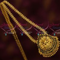 Daily Wear Gold Covering Chain Temple Jewellery Pendant Sapphire Blue Stones