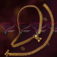 Beads Lining Design Traditional Gold Covering South Indian Anklets Online