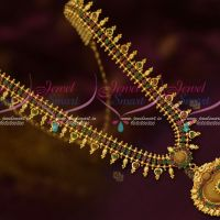 Ruby Emerald Stones Kerala Style Gold Plated Covering Jewellery Haram Designs Online