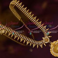 American Diamond White Stones Kerala Style Gold Plated Covering Jewellery Haram Designs Online
