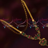 Ruby Emerald Gold Design Imitation Kids Jewellery Short Necklace Daily Wear AD Collections Online