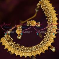 Traditional Pearl Laxmi God Embossed Design Latest Coin Kasulaperu Shop Online