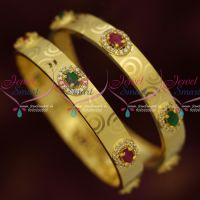 Light Gold Plated Oval Semi Precious Ruby Emerald Stones Broad Bangles