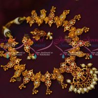 Gold Finish Traditional AD Hand Setting Stones Ruby Necklace Shop Online