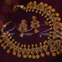 Polki Stones Laxmi God Engraved Coin Drops Traditional Gold Design Jewellery Online
