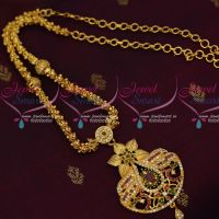 Fancy Gold Plated Chain AD Ball Mugappu Floral Design Imitation Jewellery Shop Online