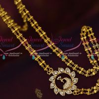 White AD Double Strand Chain Rettai Vadam Mugappu South Indian Jewellery Online
