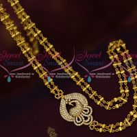 White AD Stones Double Strand Fancy Gold Plated Chain Mugappu Peacock Design Online