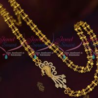 Fancy South Indian Imitation Jewelry Peacock AD Double Chain Mugappu Online