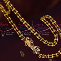 Ruby White Rettai Vadam Peacock AD Double Chain Mugappu South Jewelry Online