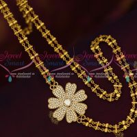 Rettai Vadam Fancy AD White Stones Mugappu Gold Covering Chain 24 Inches Online
