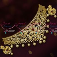 Ruby White Sparkling AD Stones Choker Necklace Gold Plated Jewellery Designs