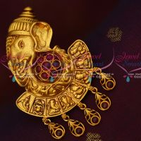 Ashtavinayak Temple Jewellery Saree Brooches Kemp Stones Matte Gold Plated Online