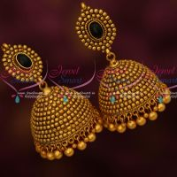 Black Colour Stones Beads Big Jhumka Earrings Bead Drops Matte Antique Jewellery Shop Online