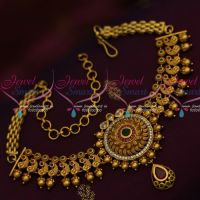 Peacock Design Bead Drops Intricately Crafted AD Bridal Bajuband Chain Vanki Online