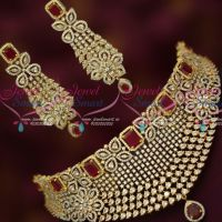 Bridal CZ Sparkling Stones Choker Necklace Ruby White Long Big Matching Earrings
