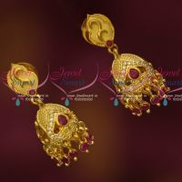 Small Size Light Gold Plated Forming 30 MG Ruby Jhumka Real Look Design Online