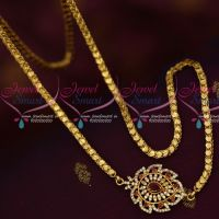 South Indian Gold Covering Chain Daily Wear Mugappu Chain Ruby White AD Stones Online
