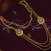 Delicately Finished Like Gold White Stones Multi Strand Jewellery Low Price South Indian
