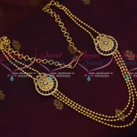 South Indian Low Price Gold Covering Beads Layer Necklace Semi Precious Stones Online