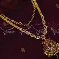 South Indian Jewellery Gold Plated Chain AD Stones Design Necklace Real Look