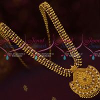 South Indian Gold Covering Haram AD Ruby White Stones Daily Wear Jewellery Online