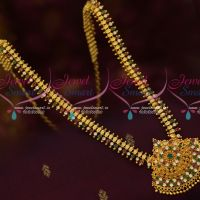 Multi Color Stones New Leaf Design Haram South Indian Gold Covering Jewellery Shop Online