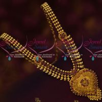 South Indian Gold Covering Ruby Mango Necklace Latest Low Price Imitation
