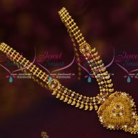 Ruby White AD South Indian Gold Covering Mango Necklace Latest Low Price Imitation