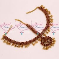 Kemp Red Round 3 Line Stones Grand Damini Mathapatti Traditional Jewellery Bridal Shop Online