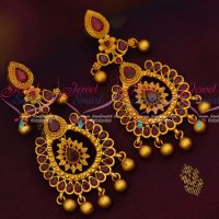 Ruby Stones Reddish Gold Plated Jewelry Matte Finish Long Trendy Earrings Shop Online