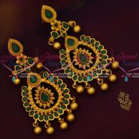 Green Stones Reddish Gold Plated Jewelry Matte Finish Long Trendy Earrings Shop Online