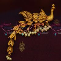 Peacock Design Wagging Tail Saree Pin Brooch Latest Matte Green Drops Gold Plated Jewelry Online