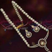 Single Line Pearl Mala AD Stones Pendant Earrings Latest Artificial Jewellery Designs Online