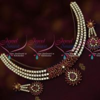 American Diamond Gold Silver Two Tone Plated Stylish Trendy Jewellery Set Shop Online