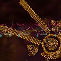 Intricately Designed Chain Broad Temple Gold Inspired Pendant Traditional Jewellery Set Online
